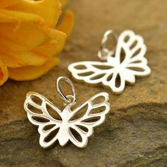Small Sterling Silver Butterfly Charm  Insects by carolinabeadshop