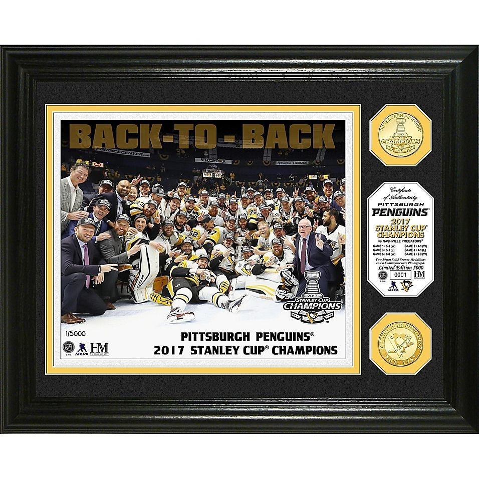 NHL Pittsburgh Penguins Stanley Cup 2017 Championship Celebration Banner and Bronze Coin Phot... Nh