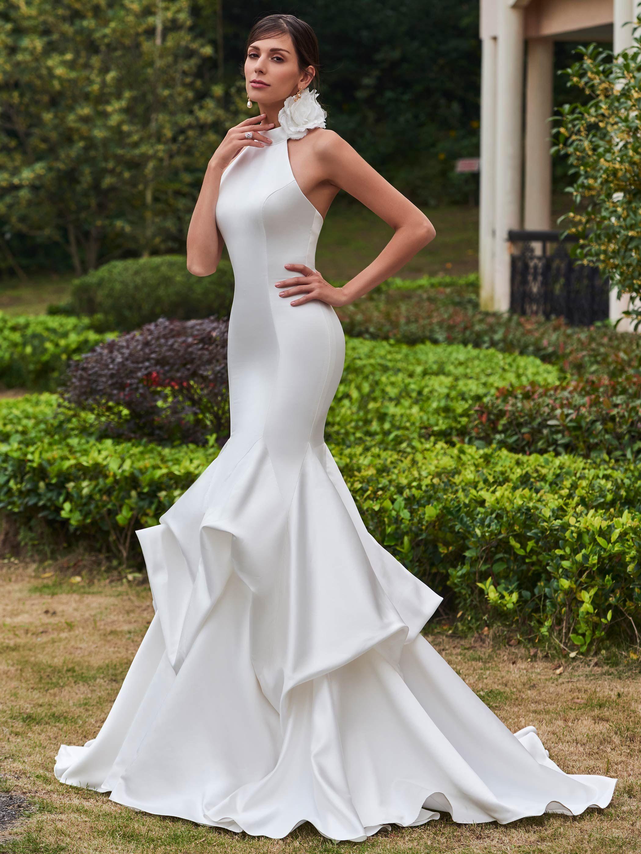 Vintage high neck zipperup mermaid wedding dress gorgeous wedding