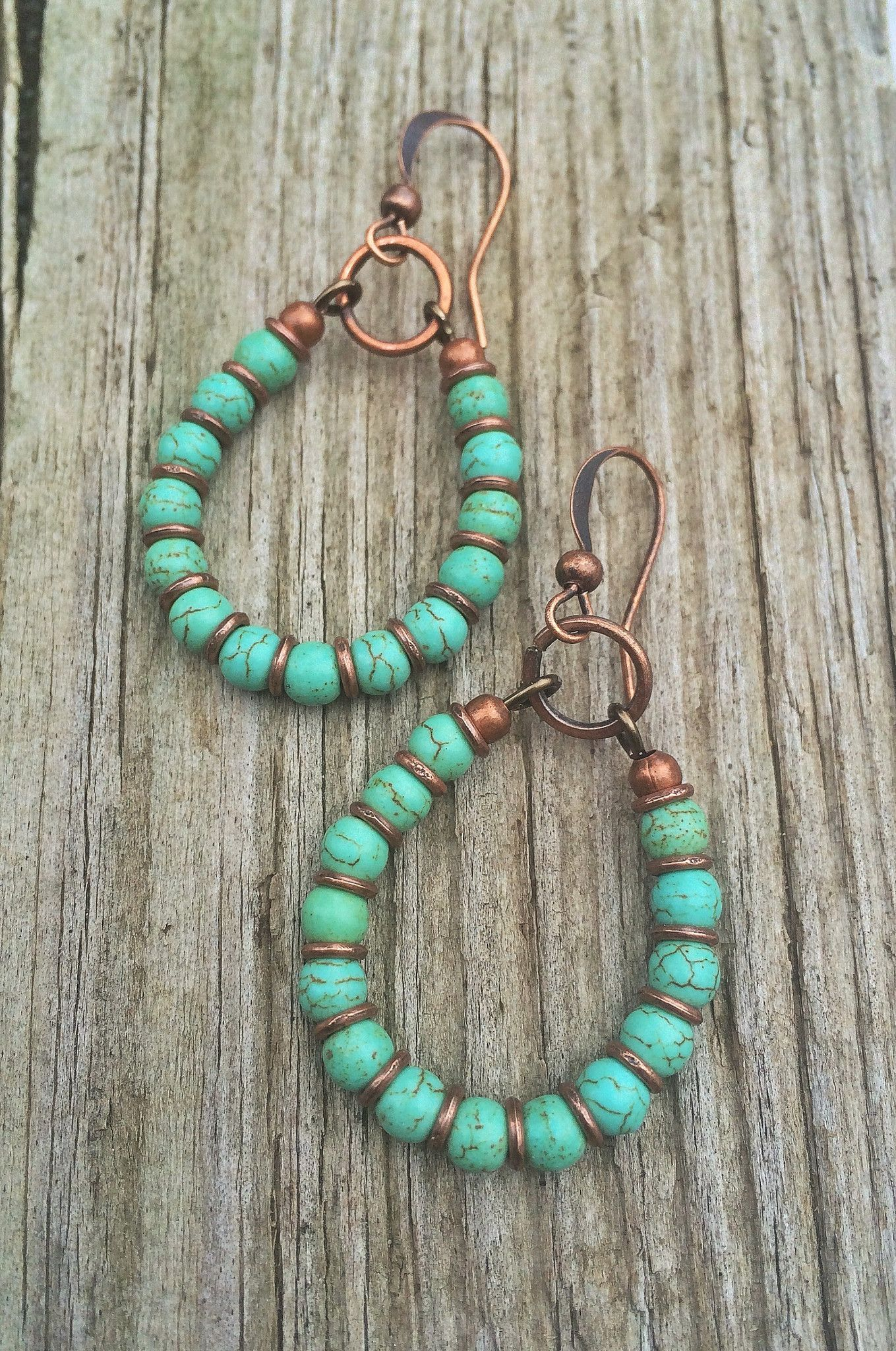 handmade la turquoise hoop earrings copper and turquoise handmade 4835