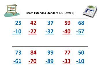 Alabama Alternate Assessment Aaa Math 6 1 Subtracting 2 Math Subtraction Assessment