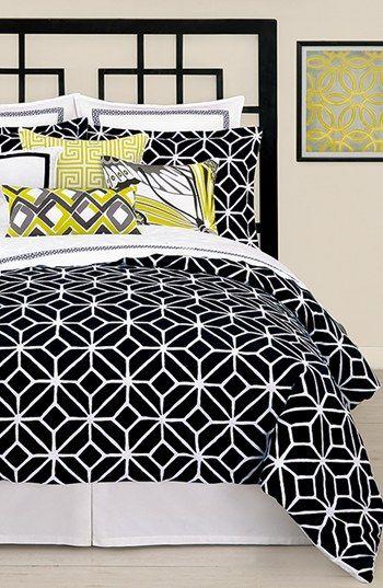 Trina Turk Trellis Duvet Cover Shams Black Bedding