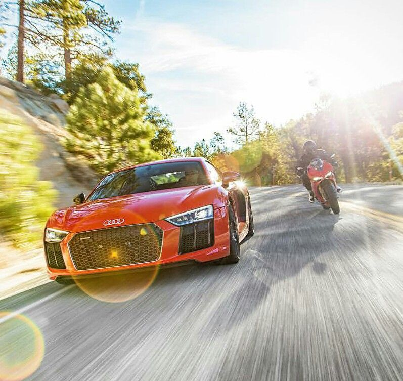 Audi R8 V10 Plus Vs Ducati 1299 Panigale S Hot Rides Pinterest