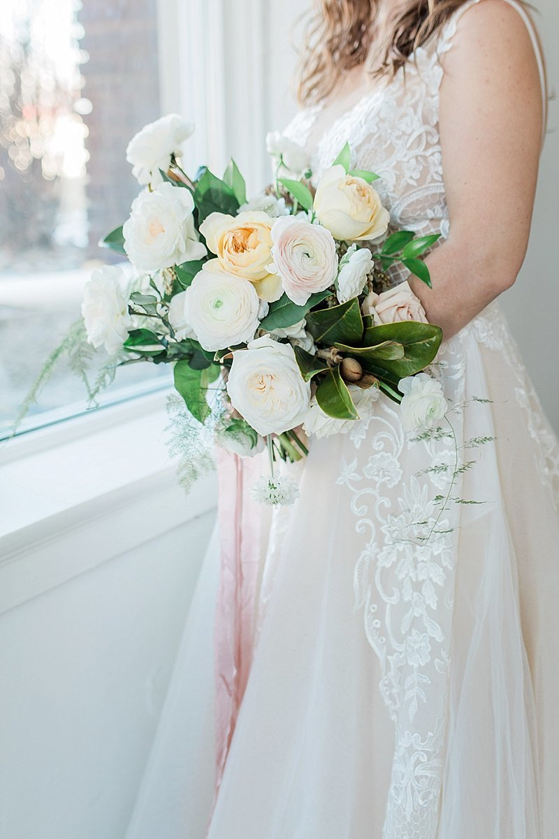 Blush And Neutral Bridal Bouquet Omaha Nebraska Wedding