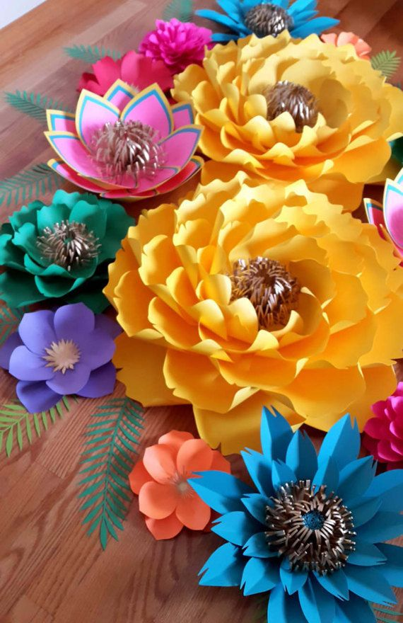 Fiesta Theme Paper Flower Backdrop Large by PoshPaperDesignss