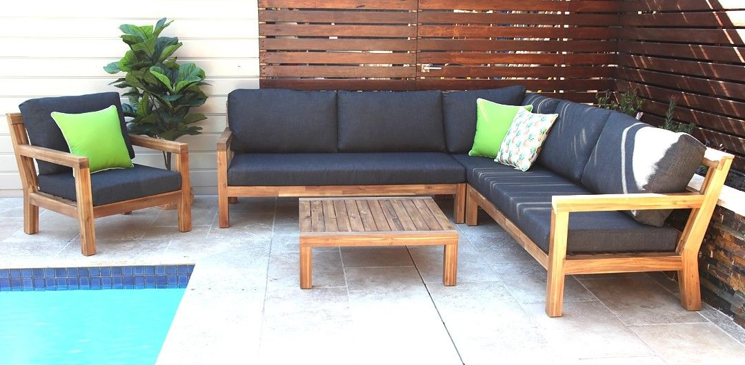 Cuban L Shaped Timber Lounge Setting With Armchair Outdoor Furniture Sale Outdoor Lounge Outdoor Sectional Sofa