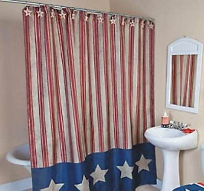 Fabric Shower Curtain Americana Red White Blue Stars N Stripes Adorable |  EBay