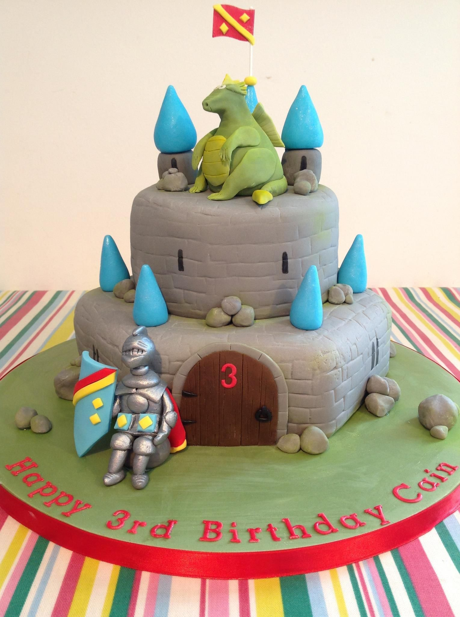 Superb Knights Castle Cake With Dragon Sugarcraft Cake 5Th Birthday Funny Birthday Cards Online Eattedamsfinfo