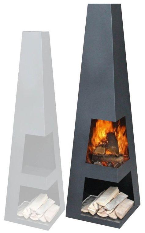 Original Gartenkamin Terrassen Feuerstelle Sanga Xl Black Kamin
