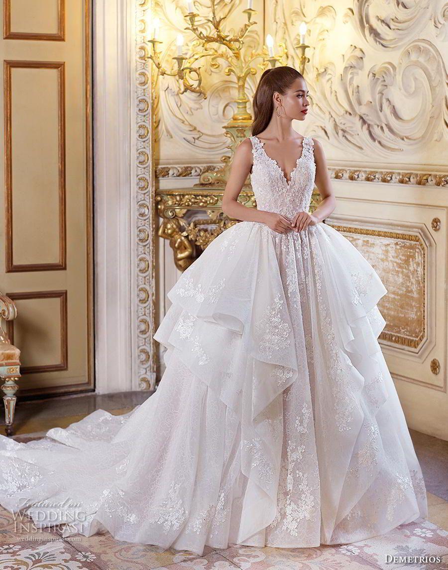 Demetrios bridal sleeveless v neck heavily embellished bodice