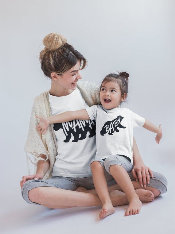matching shirt set mama bear shirt Matching mom and baby shirts mothers day gift lucky mama mommy and me White baby bear onesie