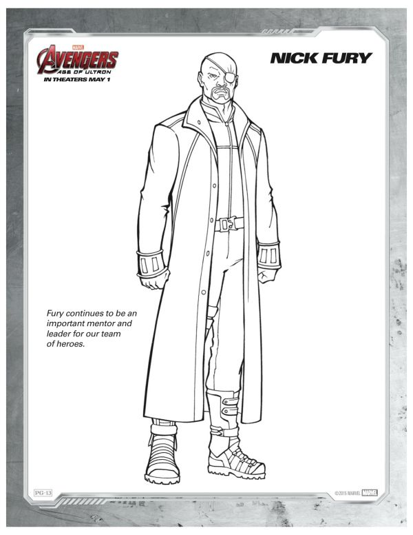 Marvel Avengers Age Of Ultron Nick Fury Coloring Page