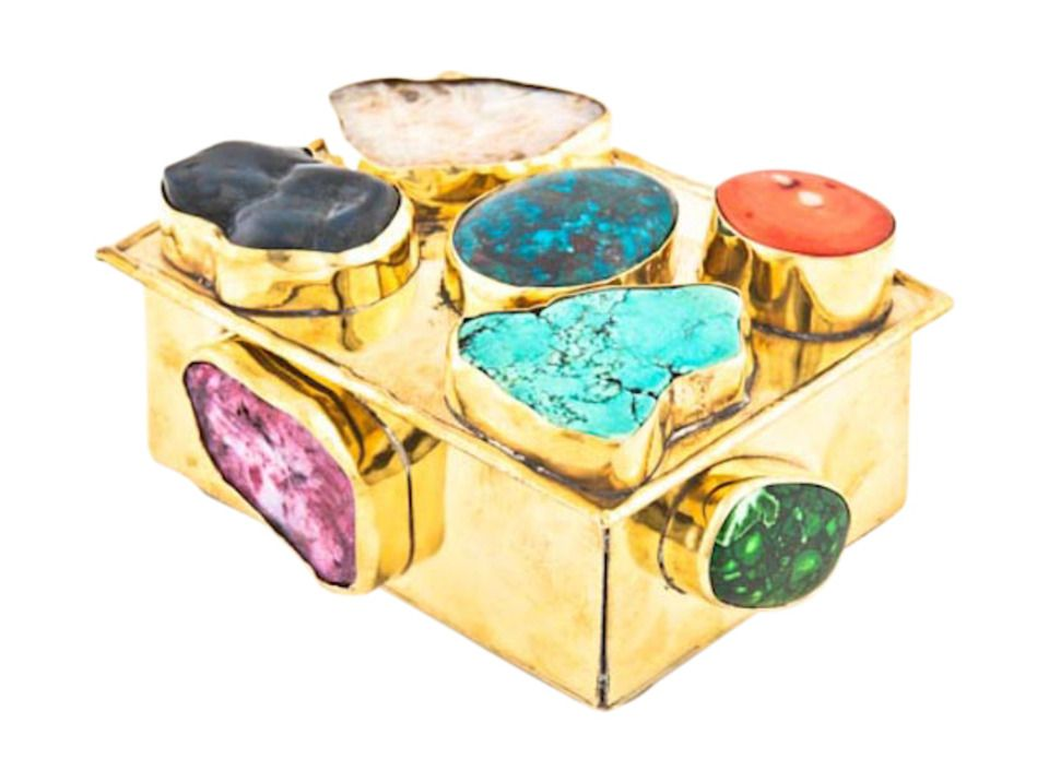 Brass box with minerals