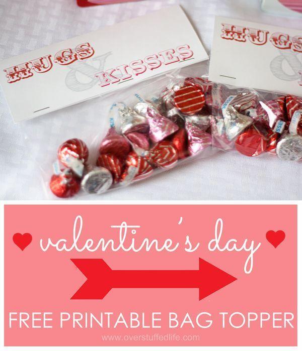hugs kisses valentine bag topper bag toppers valentine goodie bag ideas
