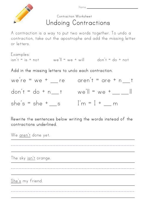 learning contractions worksheet | Education | Pinterest | Worksheets ...