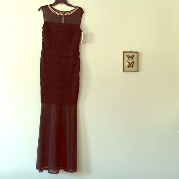 Black fitted dress Never worn- pleats in the right places. Sheer fabric at the bottom with keyhole back. Sangria petite  Dresses