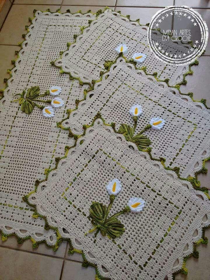 Tapete De Banhero Tejidos Jogos De Banheiro Croche