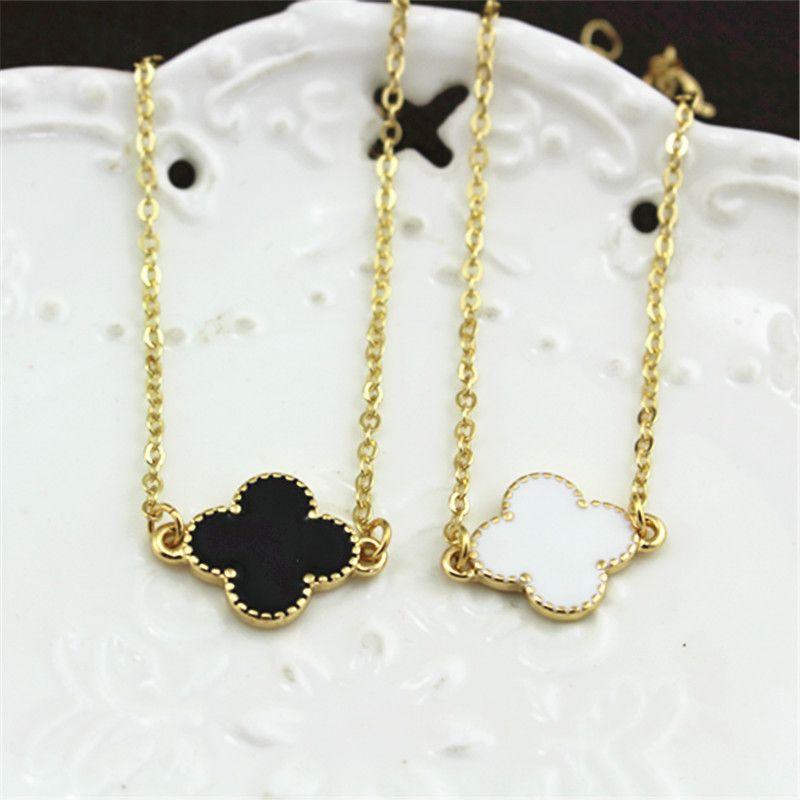 free shipping Jewelry Fashion Bracelet  Black White Clover women bracelet