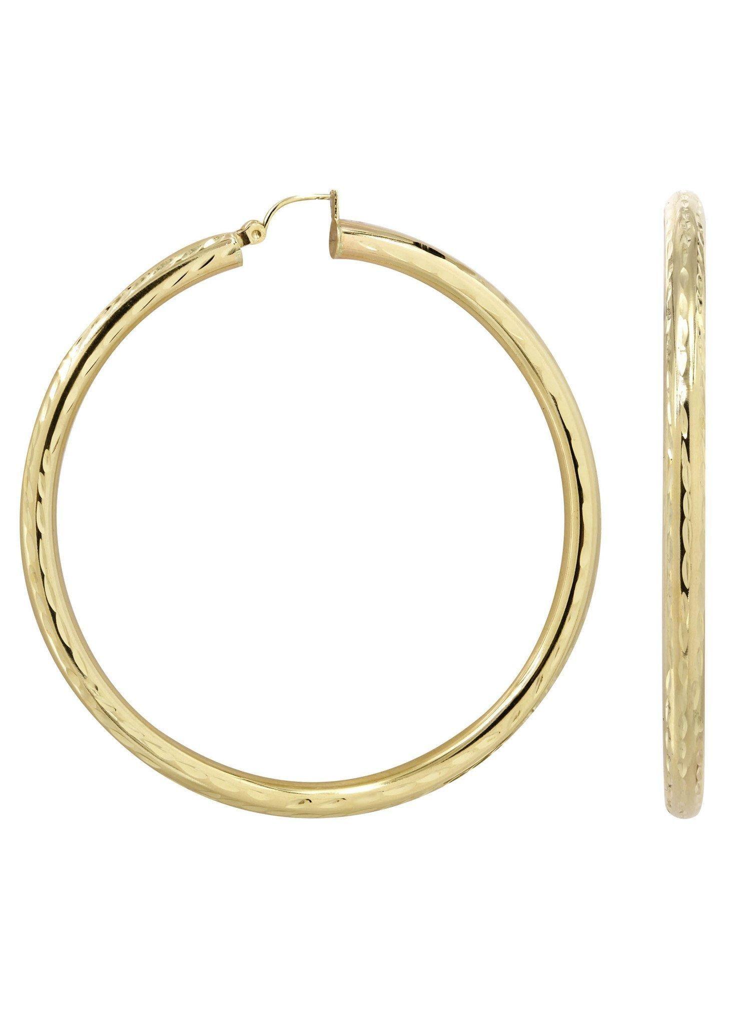 Frostnyc frostnyc k gold diamond cut hoop earrings