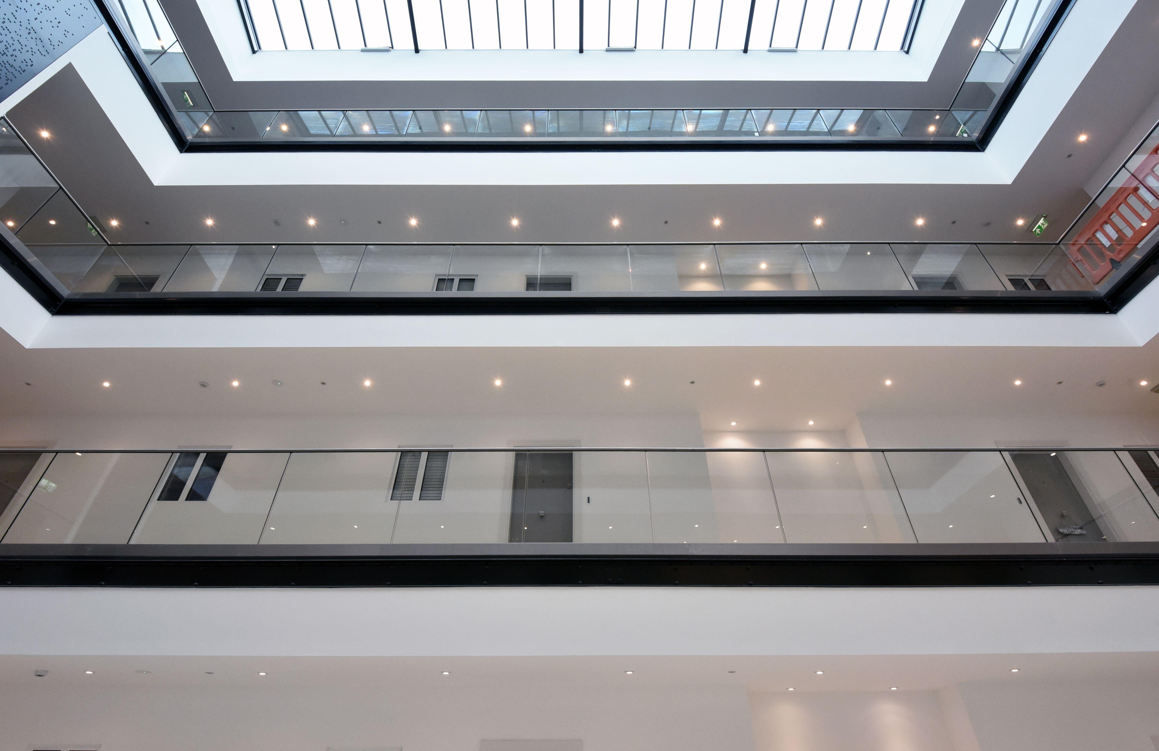 Case Study Linden House Frameless Glass Balustrading to three floors and atrium