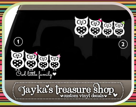 Owl Little Family Car Decal By JaykasTreasureShop On Etsy - Family car sticker decalsfamily car decal etsy