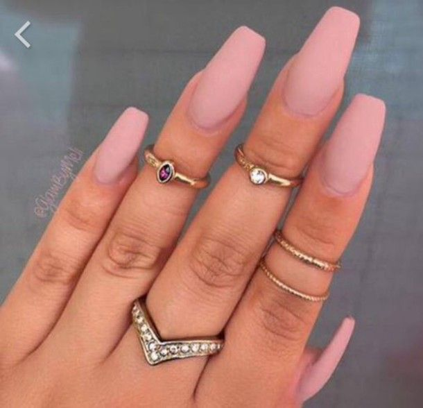 Jewels Jewerly Nails Cute Gold Sliver Ring Nude Nail Polish Knuckle Jewelry