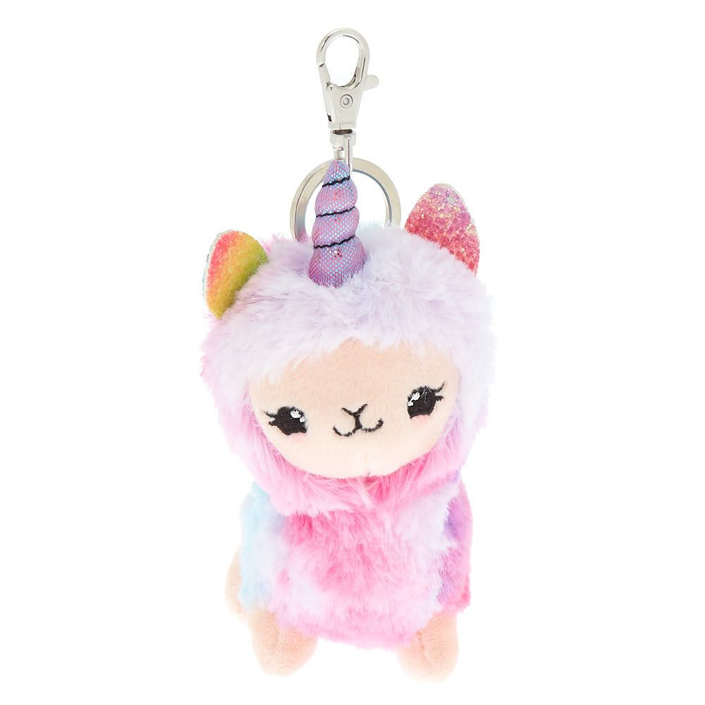 Claire S Lala The Llamacorn Plush Keychain Pink Fashion