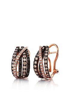 Effy Black and Espresso Diamond Hoop Earrings in 14k Rose Gold belk
