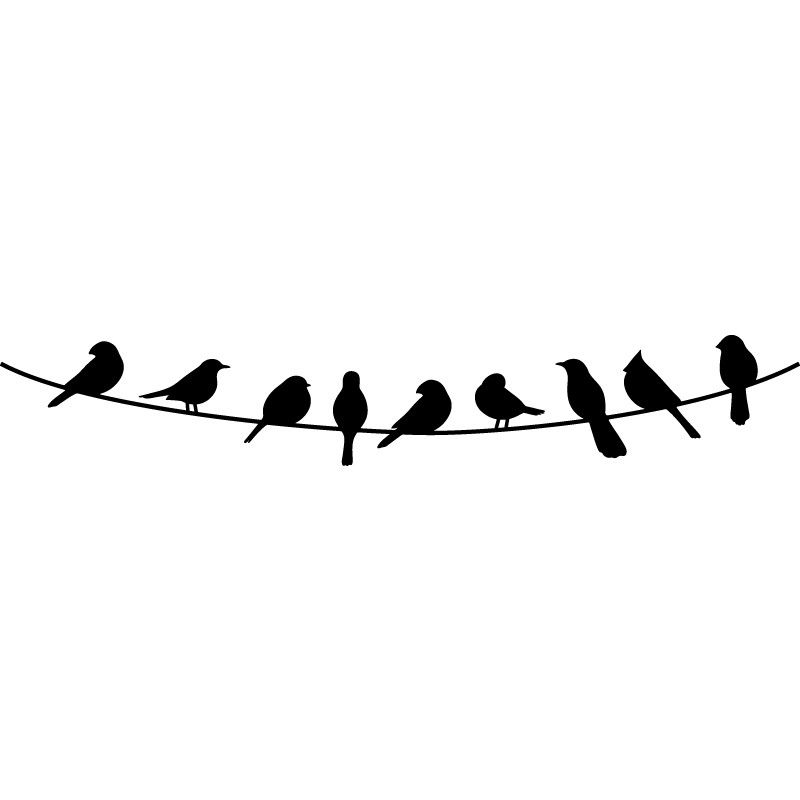 Birds on a Wire Wall Decal 01 | Wall decals, Bird and Walls