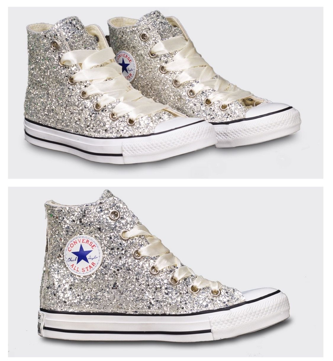 6b2f96a221d1 Sparky Silver Glitter Converse All Star High Top or Wedge! All Wedding  Colors available. www.glittershoeco.com