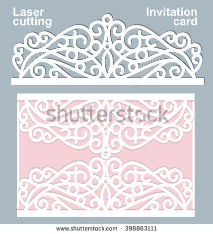 Vector laser cut wedding card template Wedding invitation card