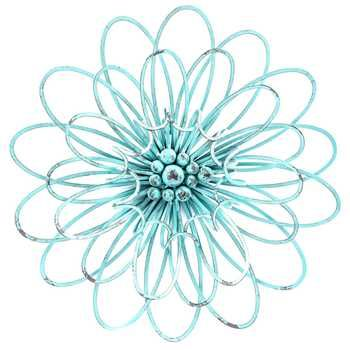 Turquoise 3D Metal Flower Wall Decor