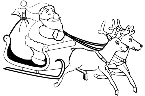 How to Draw Santa Clause & Reindeers and Flying Sleigh for ...
