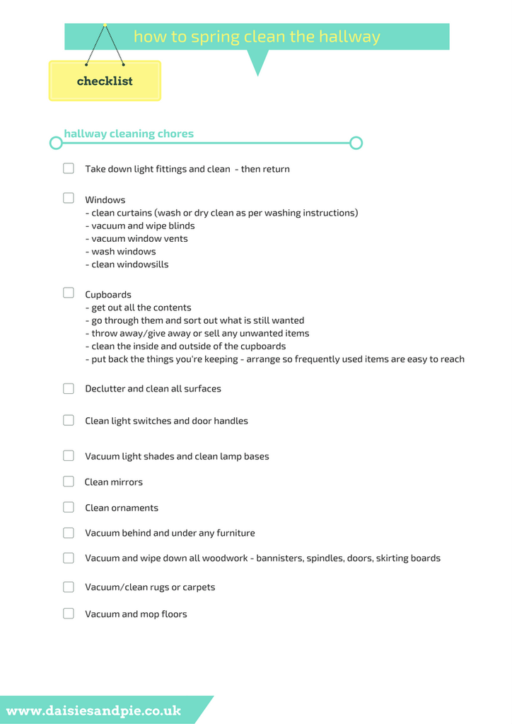 How To Spring Clean The Hallway Printable Cleaning Checklist