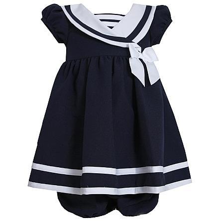 Ashley Ann Infant & Toddler Girl's Nautical Sailor Dress & Diaper Cover