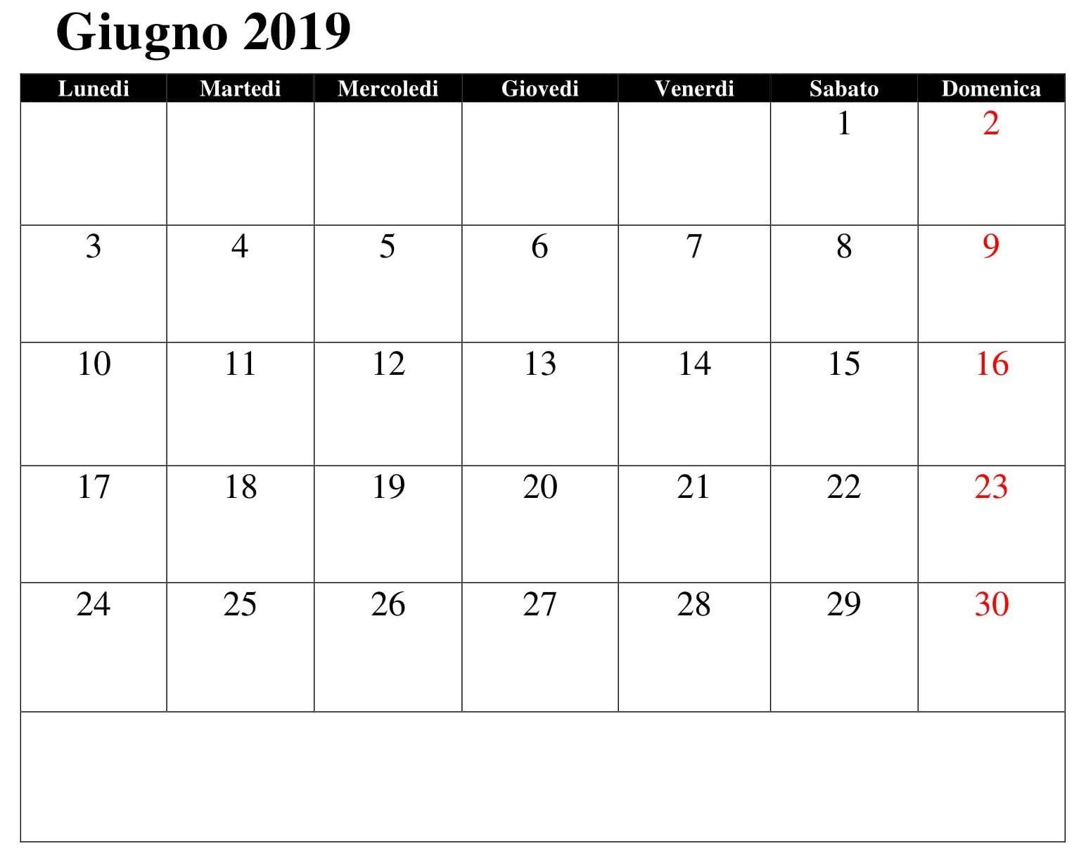 Calendario Giugno Excel