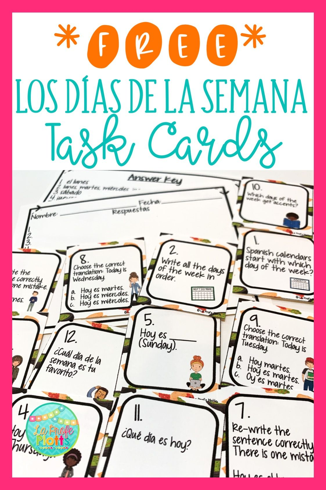 Free Days Of The Week Task Cards For Spanish Class