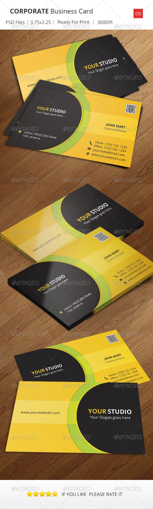 Corporate Business Card V 09 Corporate Business Business Cards