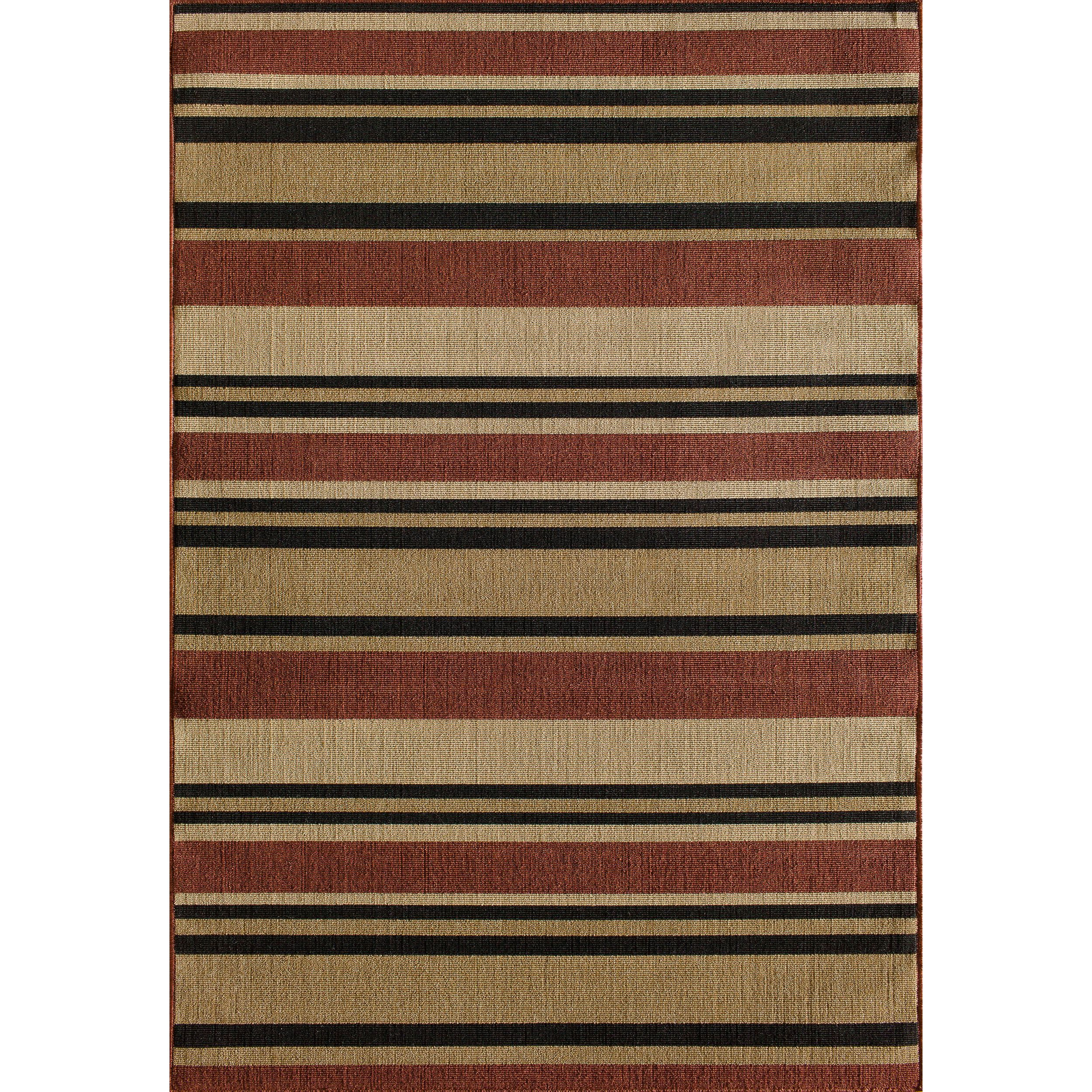 Somette Tributary Allison Stripe Red Indoor Outdoor Rug 6 7 X 9 6