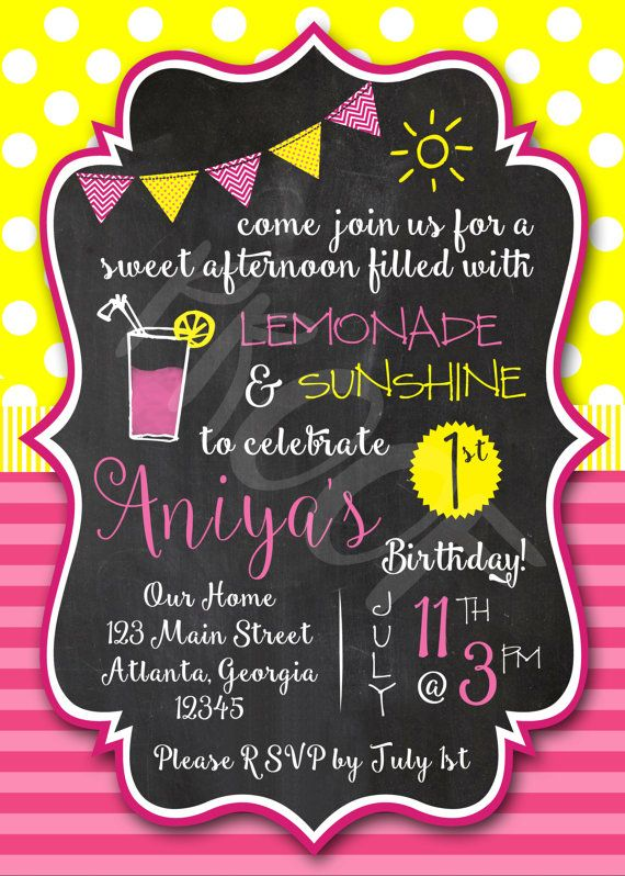 Girls Pink Lemonade and Sunshine Chalkboard BirthdayBaby Shower