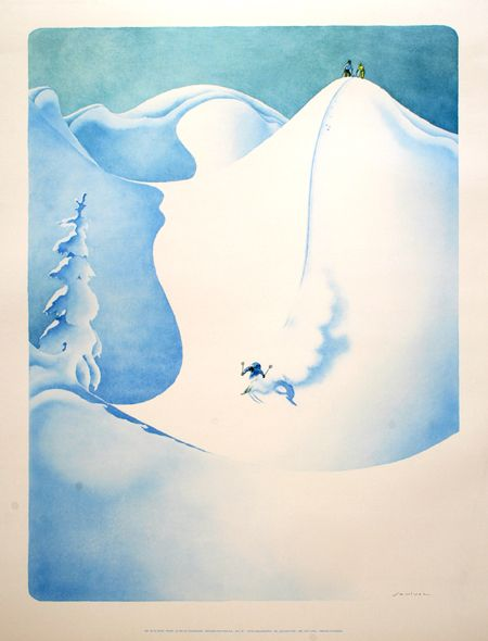 Le Ski En Poudreuse By Samivel Dessin Montagne Art Et