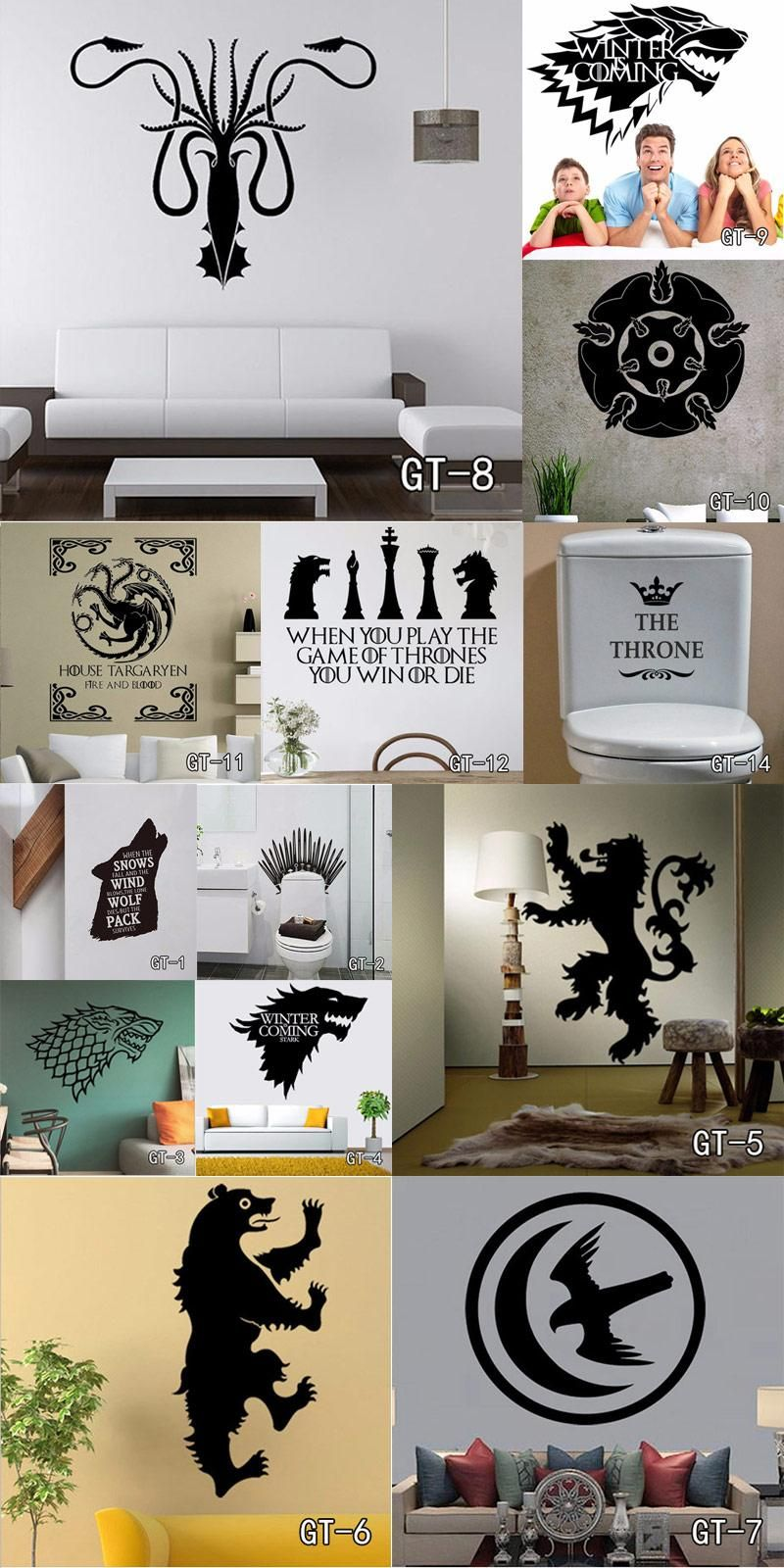 [Visit to Buy] 13 style MultiSize Stark Vinyl Decal Game