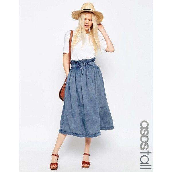 ASOS TALL Denim Paper Bag Waist Midi Skirt featuring polyvore women's  fashion clothing skirts blue midi