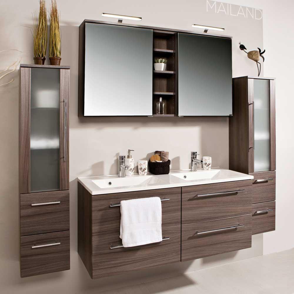 Badezimmermöbel Set mit Doppelwaschtisch Eiche dunkel (4-teilig ...