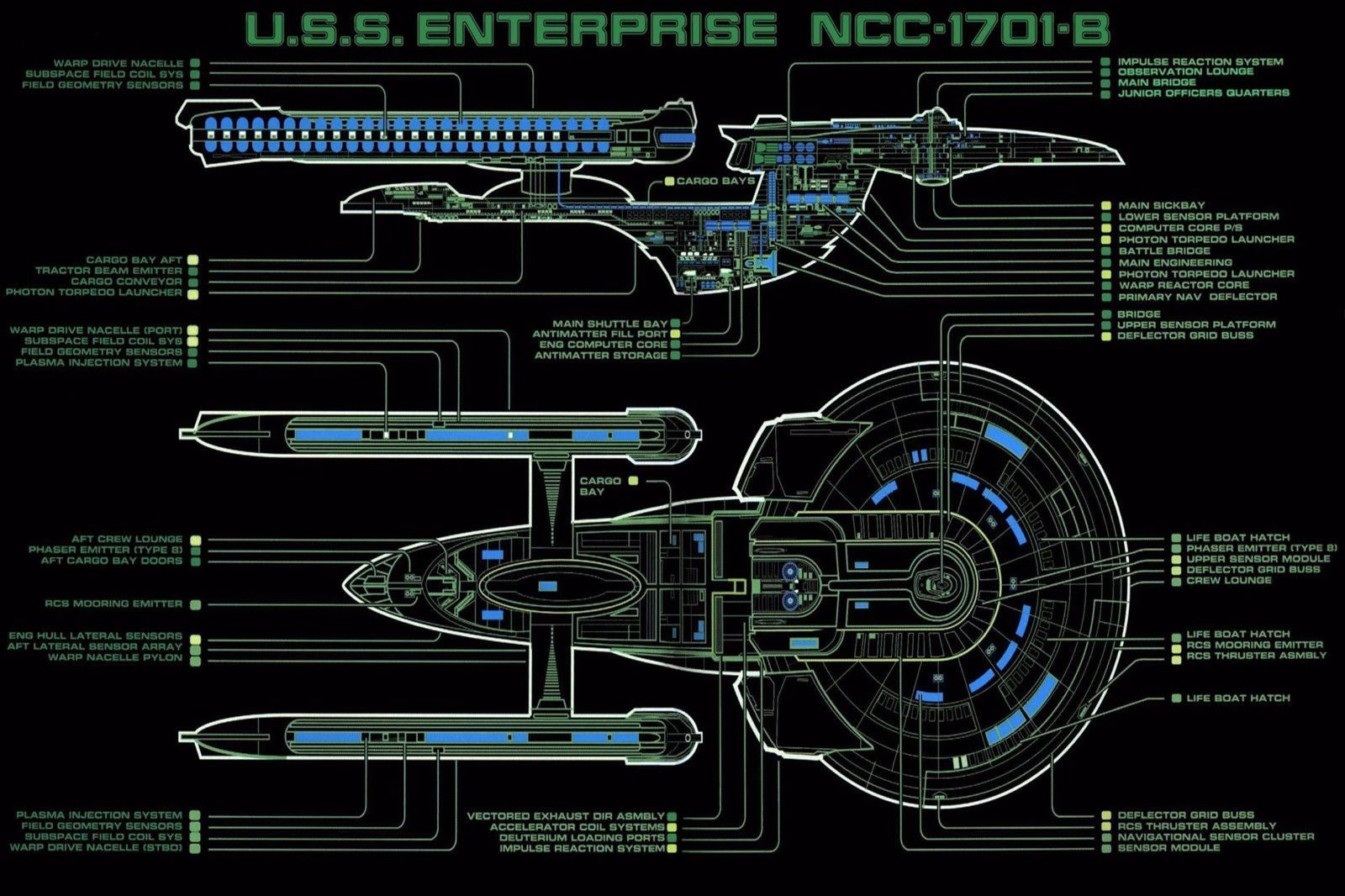 $13 45 - star trek ncc-1701 layout - wall poster- 24 in x 15 in - fast  shipping #ebay #collectibles