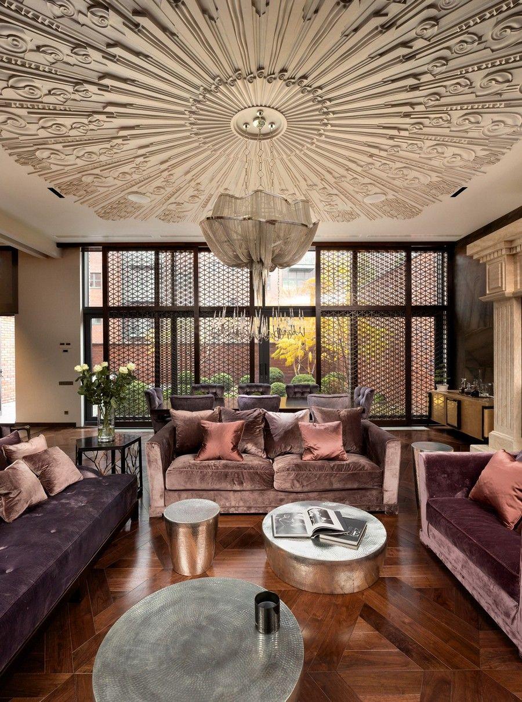 Luxurious design home with amazing ceiling design and velvet sofas interior design livingroom ethnic chic