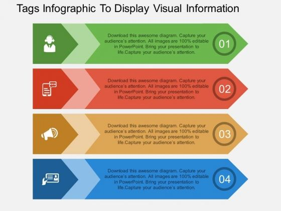 Tags Infographic To Display Visual Information Powerpoint Template