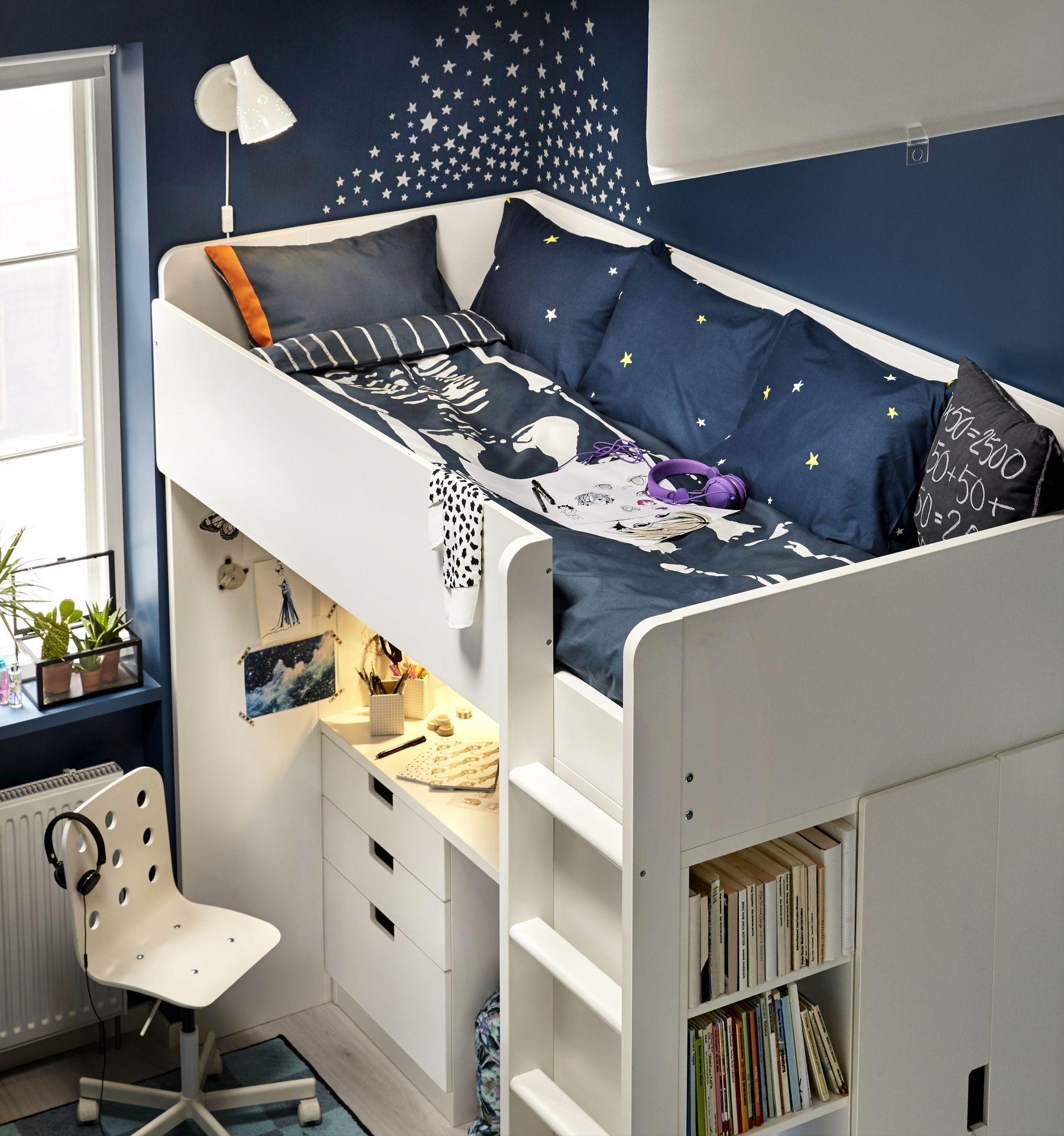 Stuva hoogslapercombi m lades deuren wit kidsroom bureaus