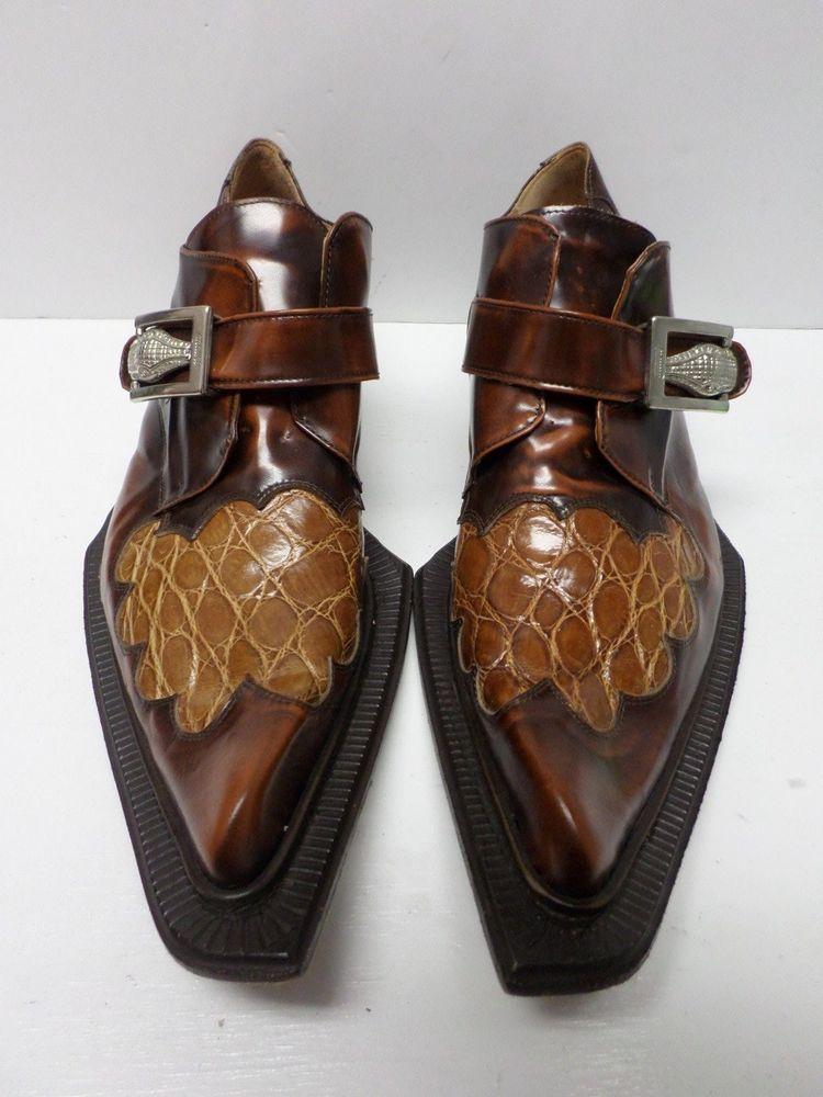 Wonderbaarlijk MAURI MEN'S BROWN ALLIGATOR SHOES/BOOTS LEATHER BOTTOM VERO CUOIO PJ-99