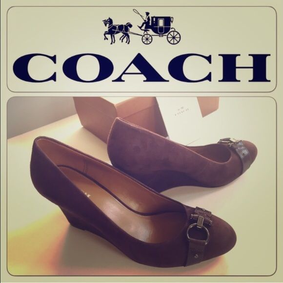 """Coach wedge pump new with box. Brand new authentic Coach wedge shoe.  New with Box.  Crafted in smooth calf leather with a soft brushed suede finish.  this refined silhouette combines a streamlined design with the sculptural look of a tapered wedge heel. Heel height 3 1/4"""" Equestrian-inspired hardware with a rich finish gives it a quintessential Coach look. Rich Brown color- with a slight hint of dark Burgundy.  New in box with all tags. Never used. In perfect condition. Ref354 Coach Shoes…"""